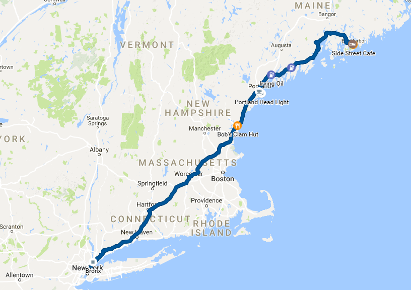 2016 Maine Vacation Map